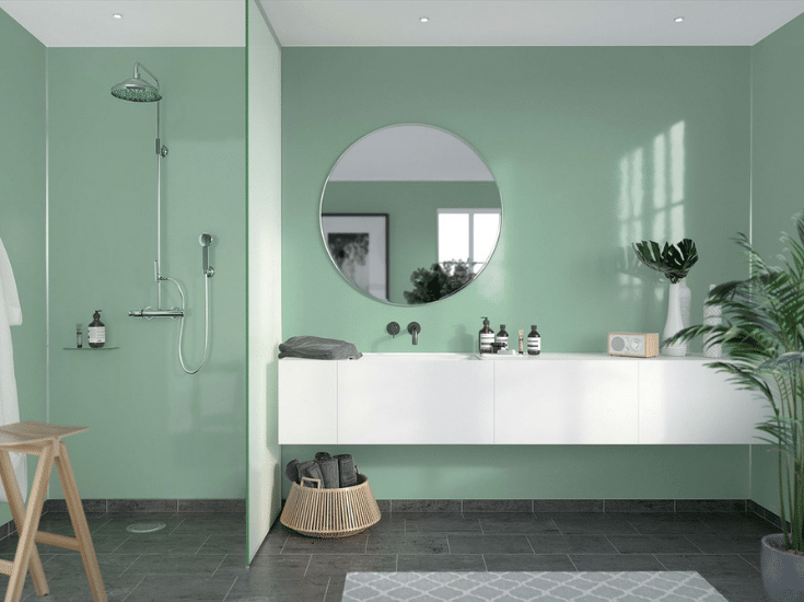 Glass green high gloss shower wall panels | Innovate Building Solutions | Innovate Builders Blog | #HighGlossPanels #ShowerPanels #LaminateWallPanels