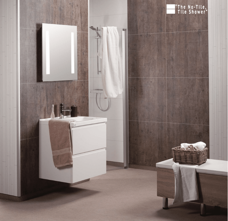 Matte finished laminated shower wall panels | innovate Building Solutions | Innovate Builders Blog | #BuildingTips #LaminateWallPanels #NoTile #TileShower