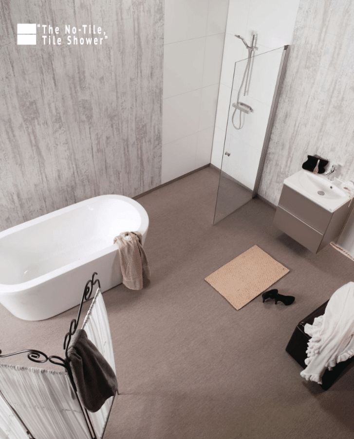 Shabby chic modern farmhouse shower and bathroom wall panels | Innovate Building Solutions | Innovate Builders Blog | #ModernFarmhouse #LaminateWallPanels #ShowerWallPanels