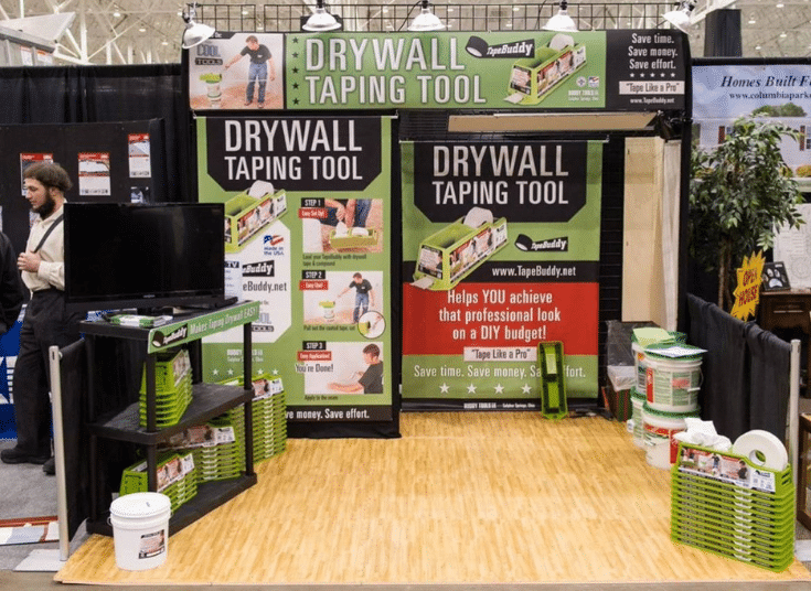 Interactive booth tape drywall demo | Innovate Building Solutions | Innovate Builders Blog | #interactivebooth #homeshowbooth #EventBooth #TradeShowBooth