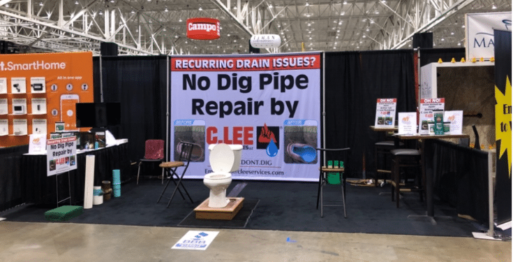 Show something eye catching C Lee overflowing toilet cleveland trade show | Innovate Building Solutions | Innovate Builders Blog | #TradeShows #EyeCatchingBooth #Tradeshowbooth