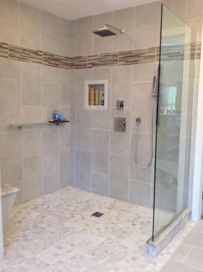 One level wet room after completion   Innovate Building Solutions   Innovate Builders Blog   #OneLevelWetRoom #WetRoom #RollInShower
