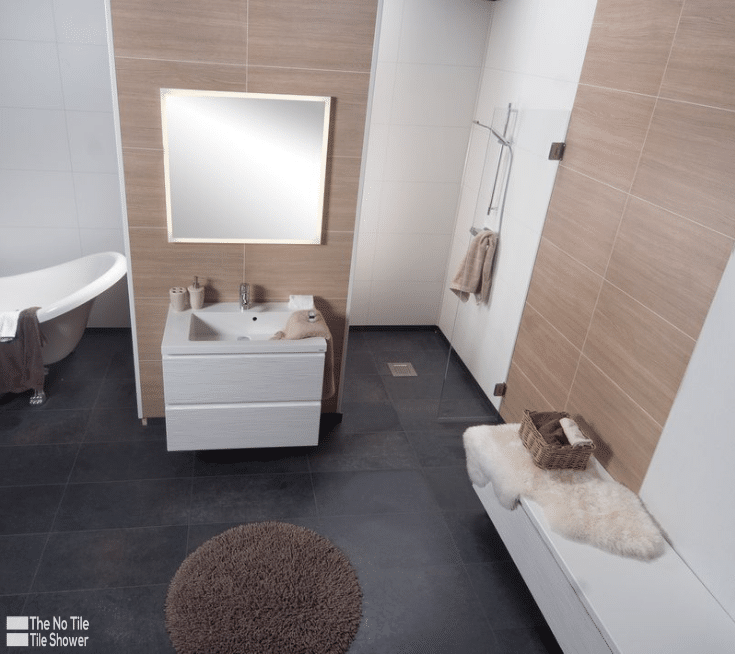 White faux tile and oak pattern laminate shower and bathroom wall panels   Innovate Building Solutions   Innovate Builders Blog   #TileShower #ShowerWallPanels #LaminateWallPanels #LaborCosts