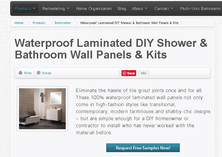 Lead magnet free samples laminate shower panel web page Innovate Building   Innovate Building Solutions   Innovate Builders blog   #LaminateWallPanels #Leadmagnet #GrowingLeads #GrowingSales