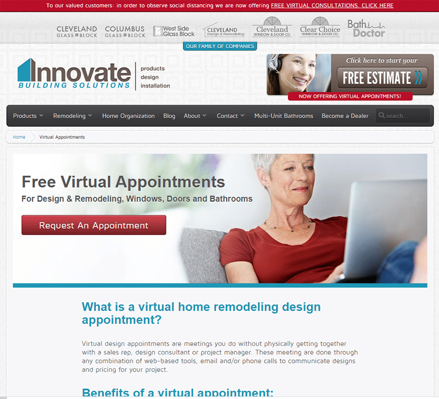 Virtual remodeling appointments Innovate Building Solutions | Innovate Builders Blog | #VirtualAppointments #Remodelingbusiness #SmallBusiness #Covid