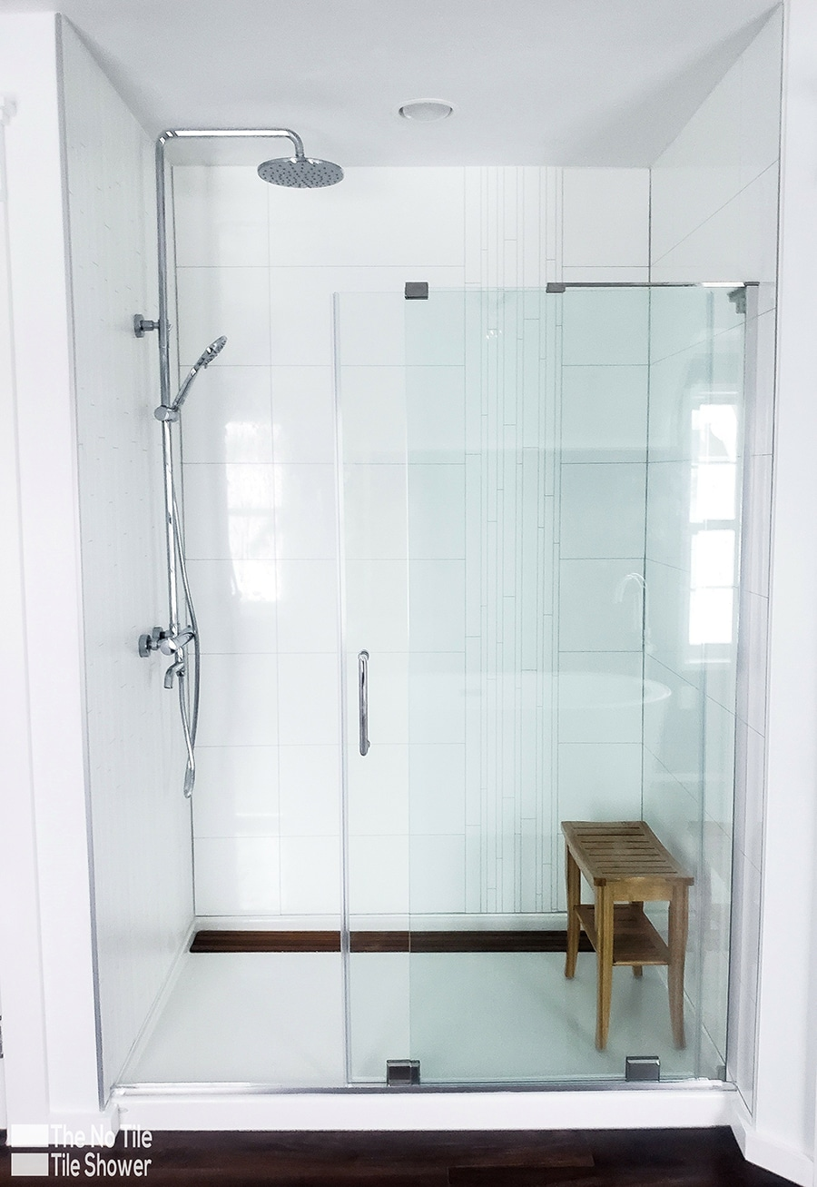 decorative laminate shower wall panels vs. tile for no grout | Innovate Building Solutions | Innovate Builders Blog | #DecorativePanels #LaminatePanels #ShowerWallPanels
