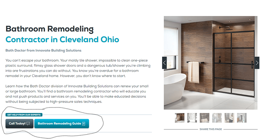 Idea 1 tip 2 multiple calls to action on a bathroom remodeling web site   Innovate Building Solutions   Innovate Builders Blog #BathroomRemodel #Remodeling #WebsiteMistakes