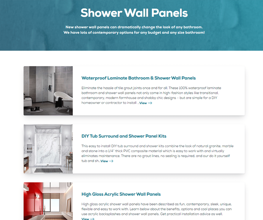 Idea 3 organizing like products services on a bathroom remodeling wall panel web site   Innovate Building Solutions   Innovate Builders Blog #Products #Services #WebsiteMistakes