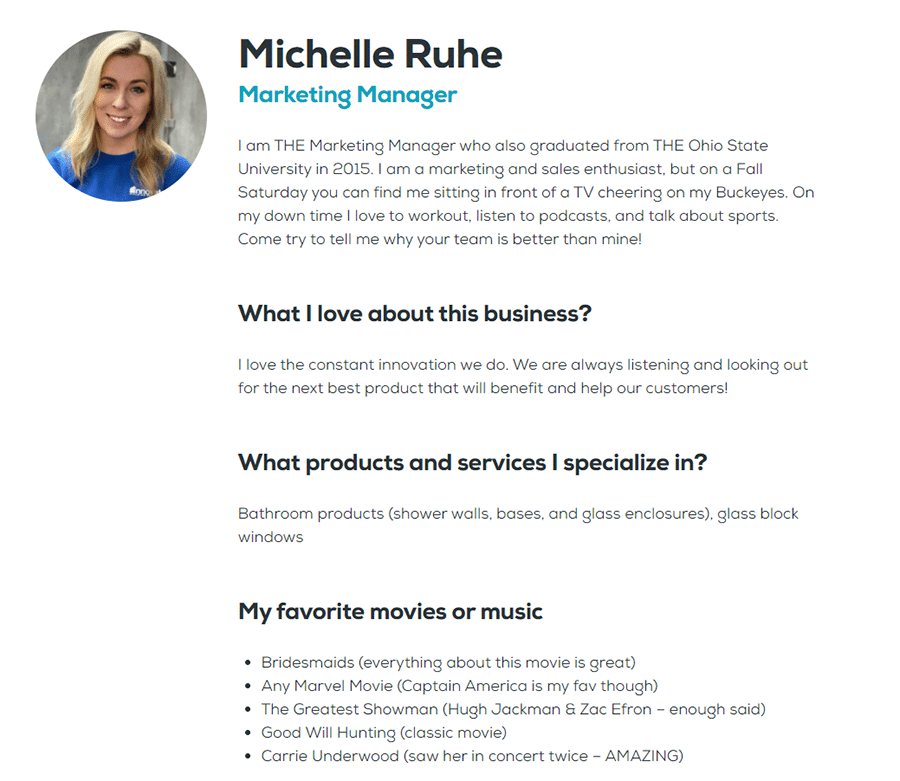 Idea 5 Meet the Team Page Innovate Building Solutions new web site Michelle Ruhe Marketing Manager   Innovate Building Solutions   Innovate Builders Blog