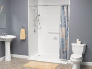 use of a handle held shower and grab bar in a shower