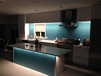 Blue atoll kitchen backsplash