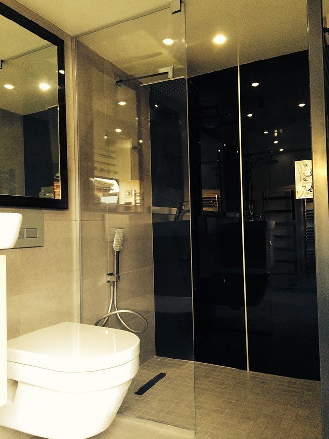 Carbon shower wall surrounds Abacus Carbon Shower. High Gloss Acrylic Wall Panels   Back Painted Glass Alternative