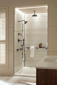 Shower Wall Storage System From Kohler Veincut Biscuit 48x36x96