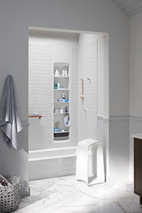 Veincut Biscuit 48x36x96 Alcove Bathtub White Wall Panel In Brick Pattern 60x36x72