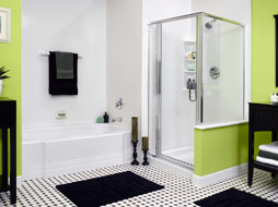 stand up shower enclosure using acrylic walls and base