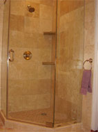 angled tile shower using urethane grout
