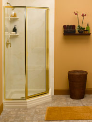 acrylic base in a corner shower with framed shower doors
