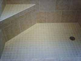 close of tile shower floor