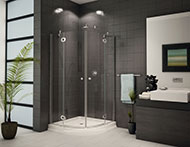 curved corner sliding door shower enclosure