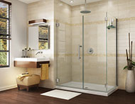 2 sided corner shower enclosure with a rectangular base