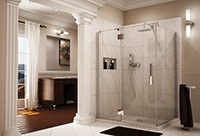 Luxury pivoting shower door enclosure made by Fleurco