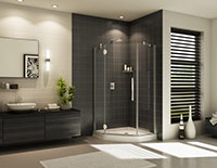 high end shower stall in a neo angle design