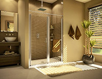 semi frameless in line alcove shower by fleurco