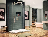 3 sided luxury shower enclosure in a frameless design