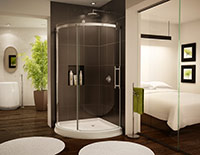 sliding curved glass shower enclosure