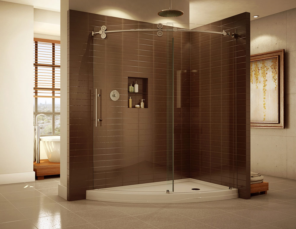 1 Frameless Curved Corner Sliding Door Shower Enclosure