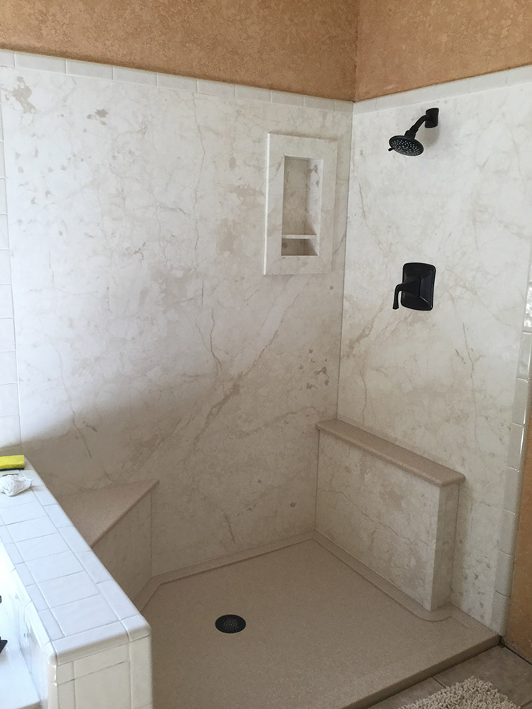 custom cultured marble and granite shower pans  bases