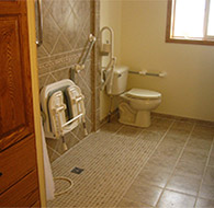 ada accessible roll in shower and wet room using tuff form base