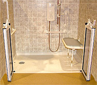 ... Mullen Barrier Free Shower Base With Caregiver Doors And ADA Shower  Seat ...