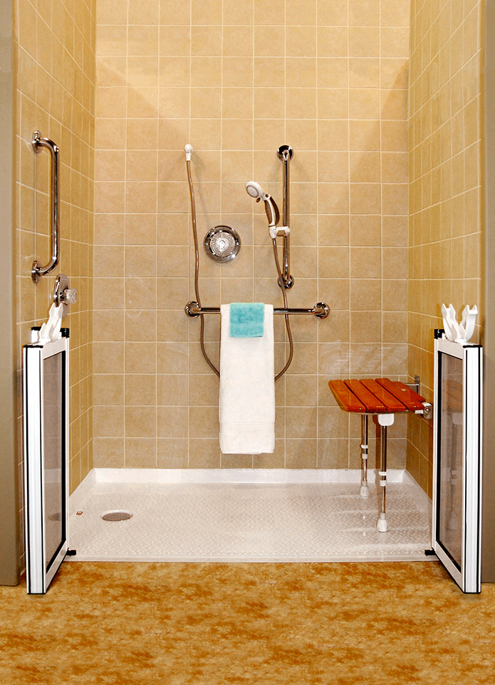 roll in handicapped shower with barrier free shower base innovate