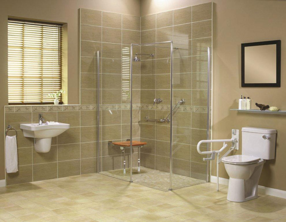 Roll in Handicapped Shower with Barrier Free Shower Base - Innovate ...