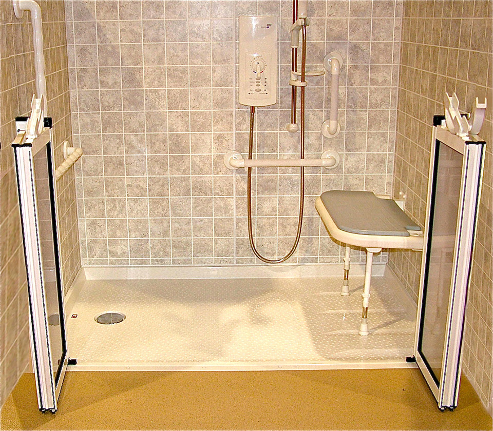 Roll in Handicapped Shower with Barrier Free Shower Base ...