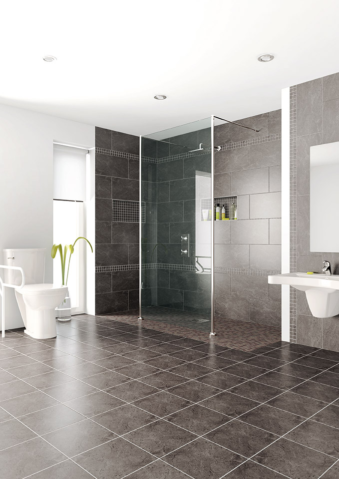 Superior Shower Screen In Large Roll In Shower Using
