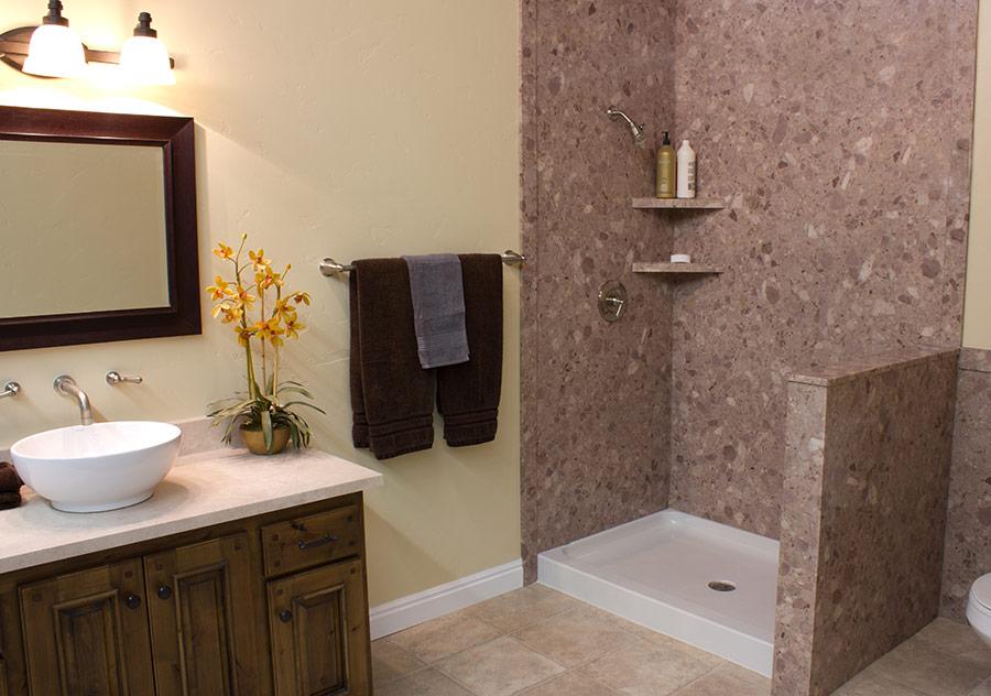 decorative stone marble or granite pattern tub  shower