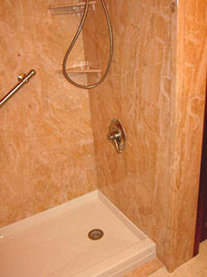 bath to shower conversion after using decorative sentrel wall panels