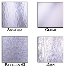 shower glass styles for different amounts of privacy & looks