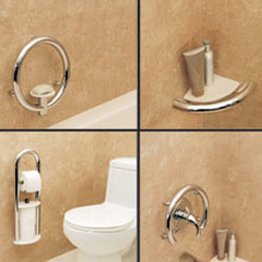assorted decorative safety grab bars for a shower tub or toilet areas