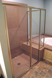 1/4in semi-frameless bench seat shower door system with brushed nickel finish