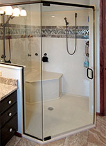Custom corner seat shower