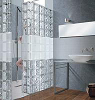 Minimalist shower w/ metalized blocks