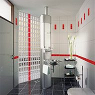 Red and clear block shower wall