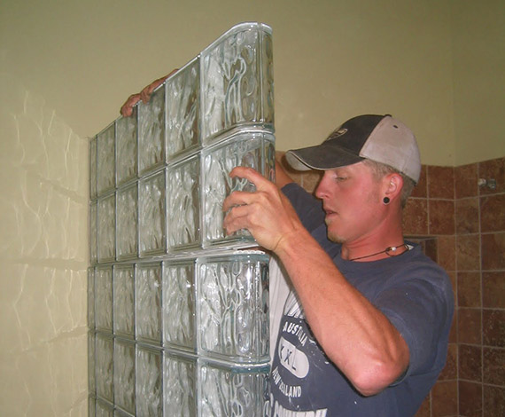 Prefab glass block shower wall installation