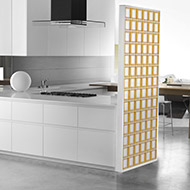 Light yellow contemporary glass block wall
