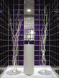 Violet glass block wall