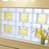 glass block bathroom window with frosted yellow goldenrod 8 x 8 units and 4 x 8 clear blocks