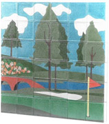 golf course mural on glass blocks for a wall or window